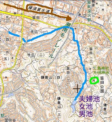 国土地理院地図:湘南モノレールの東側にある夫婦池